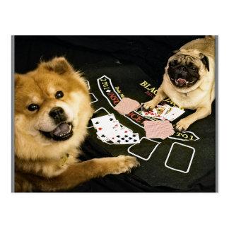Pug Poker Postcard