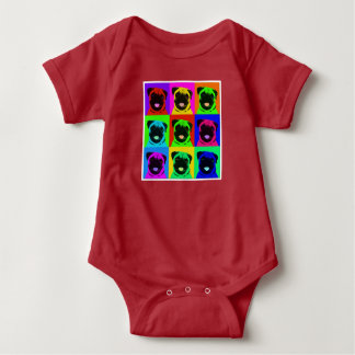 Pug pop art baby outfit baby bodysuit