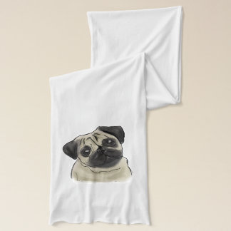 Pug Portrait Drawing Scarf