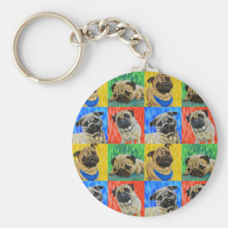 Pug Primary Repeating Pattern Basic Round Button Key Ring