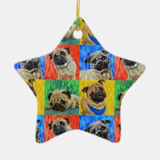 Pug Primary Repeating Pattern Ceramic Star Decoration