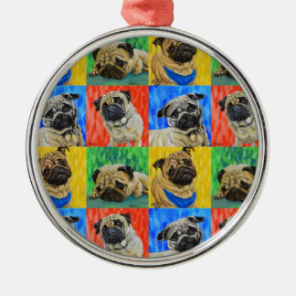 Pug Primary Repeating Pattern Silver-Colored Round Decoration