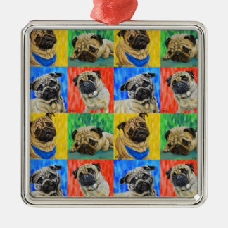 Pug Primary Repeating Pattern Silver-Colored Square Decoration