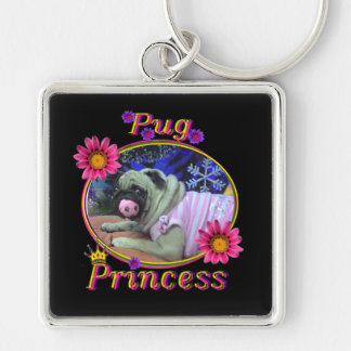 Pug Princess Key Ring