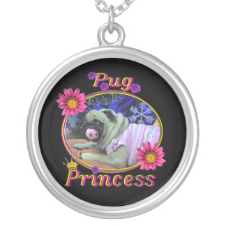 Pug Princess Silver Plated Necklace