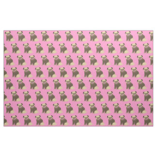 Pug Puppies on Pink Background Fabric