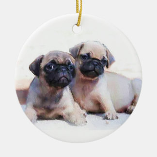 Pug puppies ornament