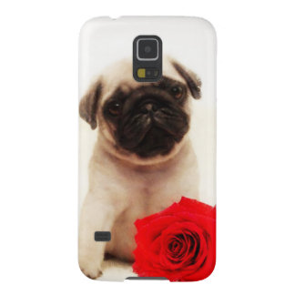 Pug puppy and rose galaxy s5 cover