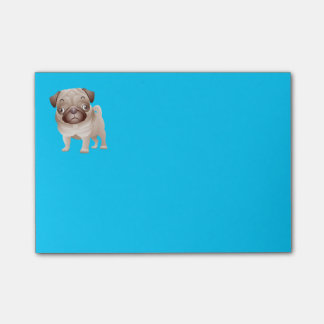 Pug Puppy Dog Cartoon Graphic Blue Notes