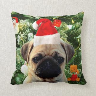 Pug Puppy Dog Christmas Tree Ornaments Snowman Throw Pillow