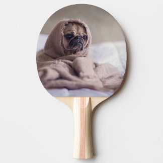 Pug puppy Dog Cuddling in a warm towel Blanket Ping Pong Paddle