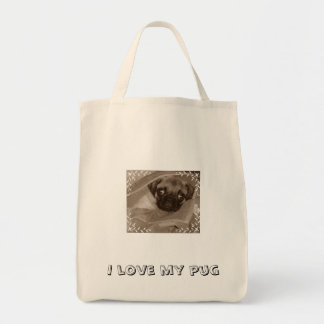 Pug puppy...I love my pug Grocery Tote Bag