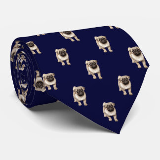 Pug Puppy Pattern on Dark Navy Blue Tie