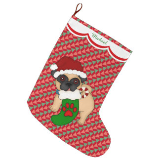 Pug Puppy Pattern Personalized Large Christmas Stocking