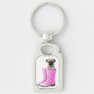 Pug Puppy Silver-Colored Rectangle Key Ring