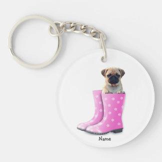 Pug Puppy Single-Sided Round Acrylic Key Ring
