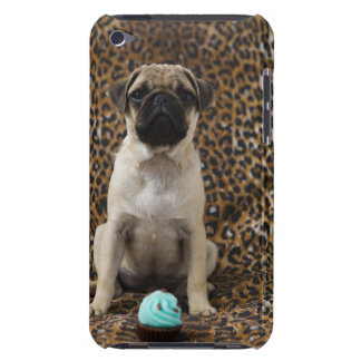 Pug puppy sitting against animal print 2 barely there iPod cover