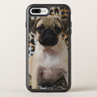 Pug puppy sitting against animal print OtterBox symmetry iPhone 8 plus/7 plus case