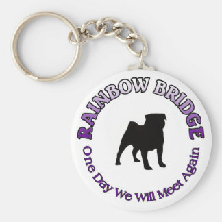 PUG RAINBOW BRIDGE SYMPATHY KECHAIN BASIC ROUND BUTTON KEY RING