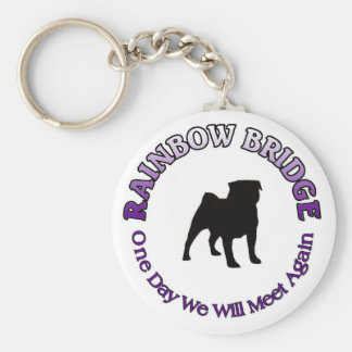 PUG RAINBOW BRIDGE SYMPATHY KEYCHAIN - DOG PET
