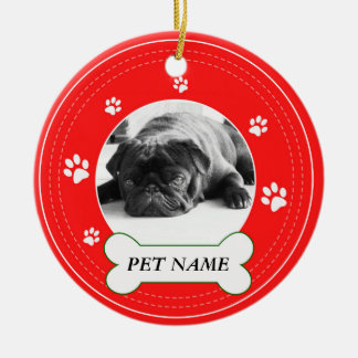 Pug Red Paws Print Ceramic Ornament