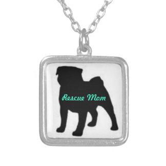 Pug Rescue Mom Square Pendant Necklace