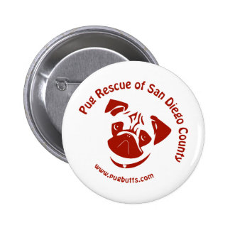 Pug Rescue of San Diego Co. Logo - Red 6 Cm Round Badge