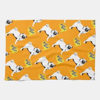 Pug Rules Tea Towel