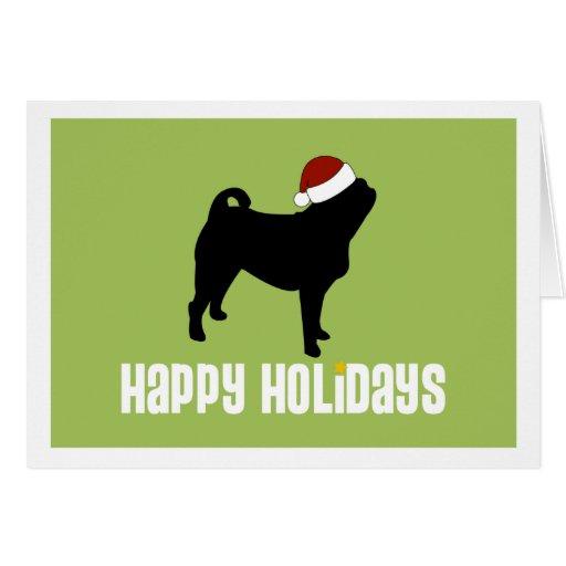 Pug Santa Hat Card
