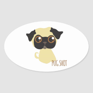 Pug Shot Oval Stickers