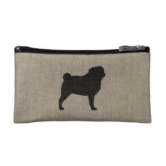 Pug Silhouette | Faux Linen Burlap Cosmetics Bags