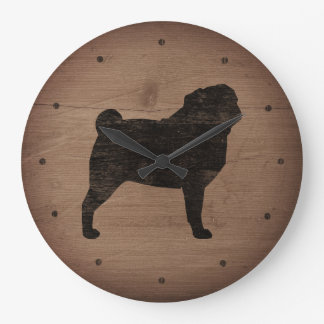 Pug Silhouette Rustic Style Large Clock