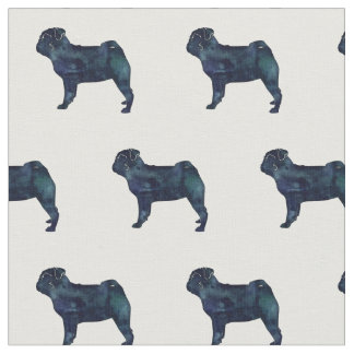 Pug Silhouette Tiled Fabric - Black Watercolor