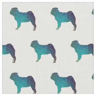 Pug Silhouette Tiled Fabric - Green