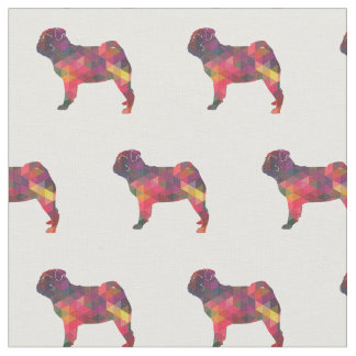 Pug Silhouette Tiled Fabric - Multi