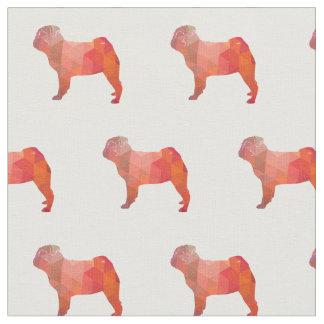 Pug Silhouette Tiled Fabric - Orange