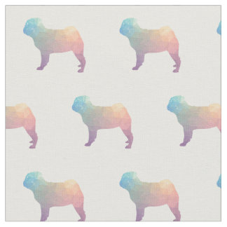 Pug Silhouette Tiled Fabric - Pastel
