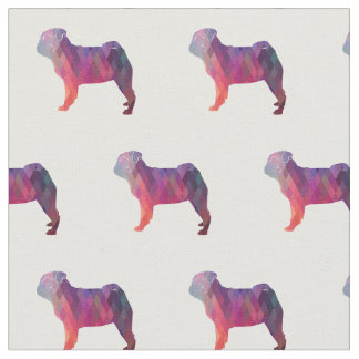 Pug Silhouette Tiled Fabric - Pink