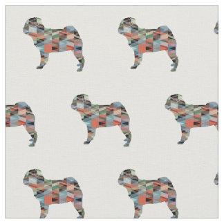 Pug Silhouette Tiled Fabric - Plaid