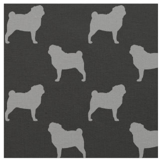 Pug Silhouettes Pattern Fabric
