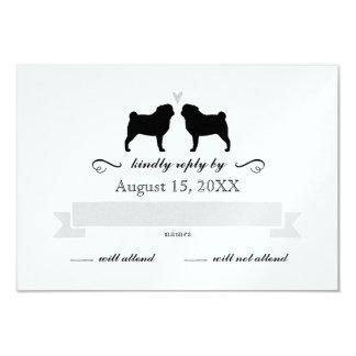 Pug Silhouettes Wedding RSVP Reply 9 Cm X 13 Cm Invitation Card