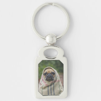 Pug Silver-Colored Rectangle Key Ring