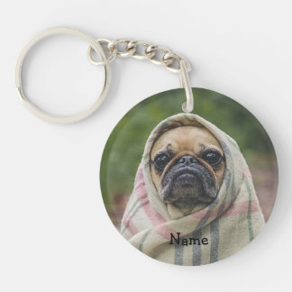 Pug Single-Sided Round Acrylic Key Ring