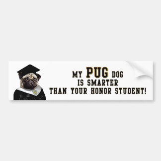 Pug smarter than honor student Bumper Sticker