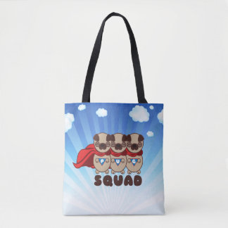 Pug Squad With Background Tote Bag