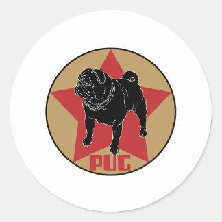 Pug Star Round Sticker