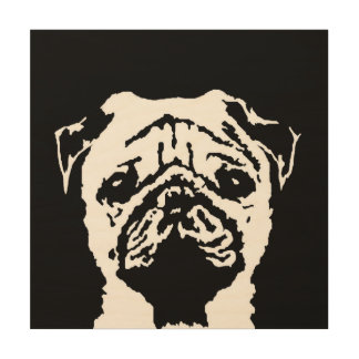 """Pug Stencil Wood 12""""x12"""" Wall Art"""