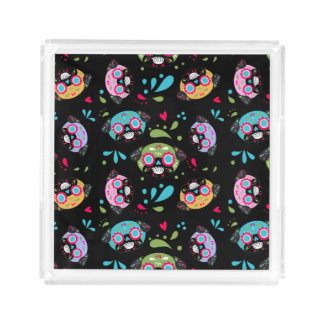 Pug Sugar Skull Multi Color Pattern Acrylic Tray