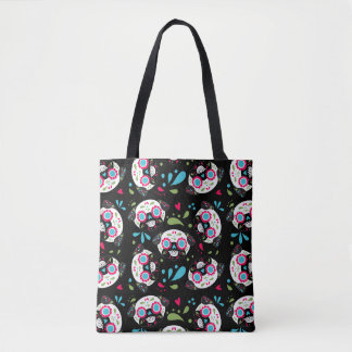 Pug Sugar Skull Pattern Front Single Skull On Back Tote Bag