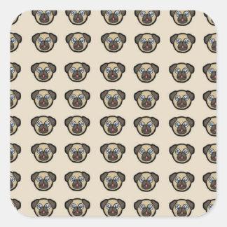 pug tile bg square sticker